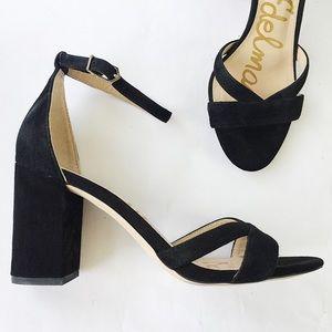 Sam Edelman Black Suede Omar Ankle Strap Sandal 8